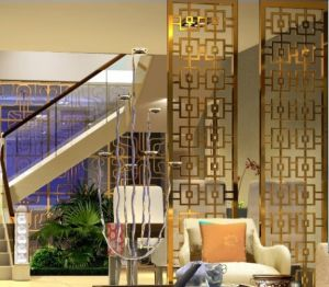 Decorative Metal Outdoor Screen with Brass Color Wall Panel pictures & photos