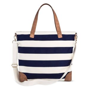 Ladies Stripe Canvas Beach Shoulder Shopping Reuseable Handbags Tote Bag pictures & photos