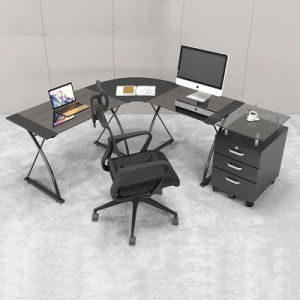 Modern Study Furniture L-Shaped Glass Computer Desk pictures & photos