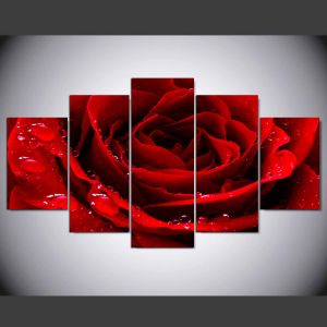 5 Pieces/Set Printed Red Love Rose Poster Painting Wall Art Room Decor Printed Canvas Painting Mc-160 pictures & photos