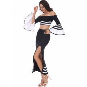 Women′s Bandage Hollow Long Sleeve Top Split Dresses (2 Pieces) pictures & photos