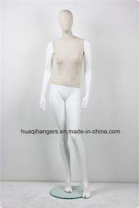 Fabric Wrapped Famale Standing White Mannequins with Wood Arm pictures & photos