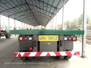 Sinotruk BPW Flat-Bed 3 Axle Truck Trailer 40FT Container Semi Trailer pictures & photos