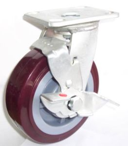 Industrail Swivel PU Caster Wheel with Side Brake (Red) pictures & photos