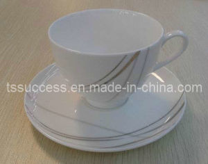 Fine Bone China Cup and Suacer With Silver Design
