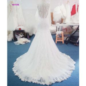 Wholesale Lace Bodice Sleeveless Sheath Wedding Dress with Lace Edge of The Skirt pictures & photos