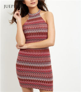 Guangzhou OEM Red Zig Zag Crochet Bodycon Mini Dress pictures & photos