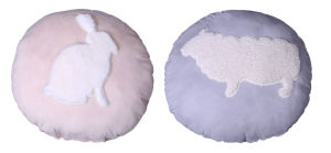 Hot Selling Comfortable and Soft Animal Embroidery Round Cushion From Factory
