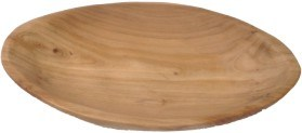 Natural Color #2160 Wooden Fir Root Oval Fully Carved Platter