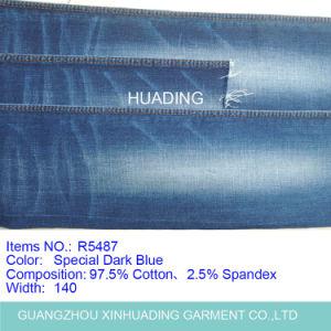 Dark Blue Cotton Elastic Denim Jeans Fabric (R5487) pictures & photos