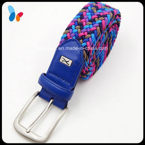Custom Fashion Colored Fabric Waistband Belts with Silver Buckle pictures & photos