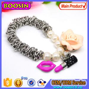Wholesale Fashion Alloy Clover Clasp Leather Bracelet pictures & photos