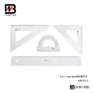 4 PC 30cm Student Plastic Ruler Set Office Stationery