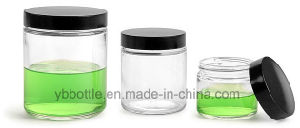 16ozglass Jars, Clear Glass Straight Sided Jars W/ Black Phenolic Lined Caps pictures & photos