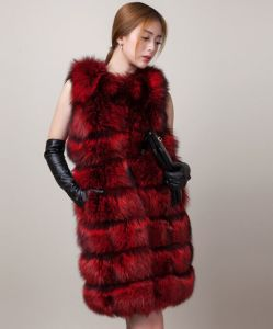 Classic European Sleeveless Red Color Silver Fox Fur Vest pictures & photos