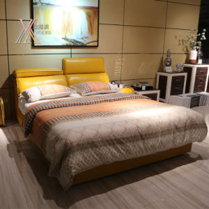Yellow Leather Bed for Home with Adjustable Headrest (2103+13) pictures & photos