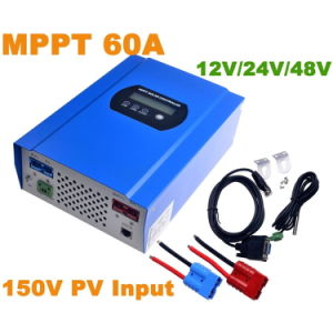 60A MPPT Solar Controller with 12V/24V/48VDC Auto Max 150V PV Input Battery Regulator Charger RS232 Connector pictures & photos