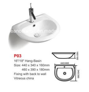 (No. P03) Samll Lavabo, Economical Ceramic Sink, Wall Hung Washbasin pictures & photos