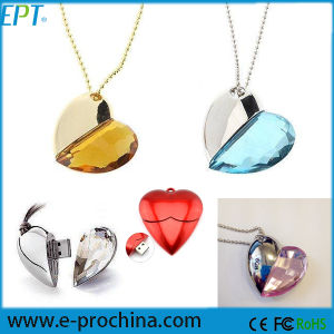 Valentine′s Gift Jewelry Heart Shape USB Flash Drive Crystal USB (ES002) pictures & photos