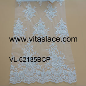 White Corded, Sequined & Beaded Wedding Fabric From Lace Factory Vl-62135bcp
