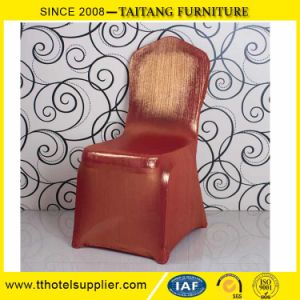 Factory Wholesale Satin Spandex Hotel Event Elastic Sequin Chair Cover pictures & photos