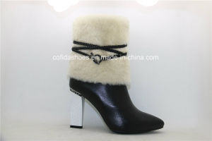Sexy High Heels Leather Warm Women Fur Boots pictures & photos
