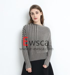 Women a/B Rib Flare Sleeves Short Pure Cashmere Knitwear