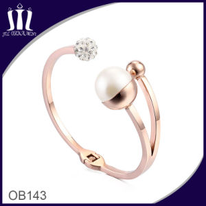 18CT Rose Gold Open Hinged Cuff with Faux White Pearl and Pave Set Cz′s pictures & photos