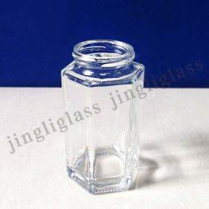 Tall Hexagonal Glass Jar with Good Quality Material pictures & photos