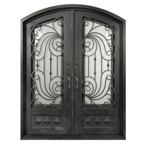 Custom Elegant Eyebrow Top Wrought Iron Entry Double Door pictures & photos