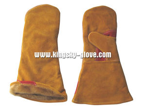 Cow Split Leather Fingerless Welding Working Glove-6523 pictures & photos