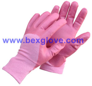 Cotton Interlock Liner, Nitrile Coating, Rough Finish Safety Gloves pictures & photos