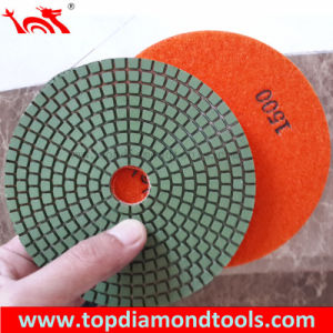 "4"" Wet Granite Velcro Back Polishing Pad pictures & photos"