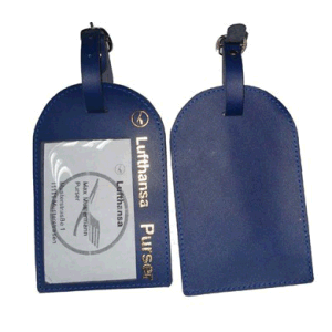 Custom Deep Blue Luggage Tag Leather Badge Holder pictures & photos