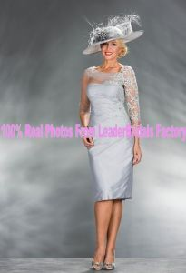 Short Formal Gown Custom 3/4 Sleeves Lace Blue Purple Silver Mother Evening Dress M16518 pictures & photos