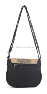 "Trendy Ladies ""Marigold"" Straw Insert PU Shoulder Crossbody Saddle Bag pictures & photos"
