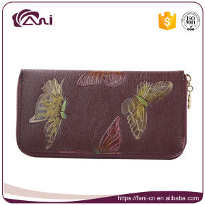 Hot Selling Butterfly Printed Leather Purse for Women, PU Leather Zip Wallet 4 Colors pictures & photos