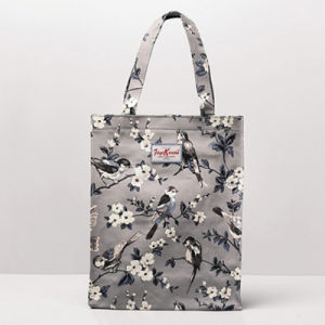 Grey Medium Size Birds Pattern Canvas Shoulder Bag (2293-24)