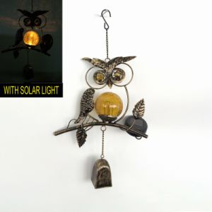 Popular Metal Sunface Garden Glass Ball Solar Powered Windchime Craft pictures & photos
