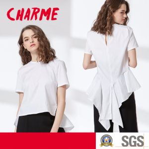 Ladies Fashion Round Neck T-Shirt Dovetail Blouse pictures & photos