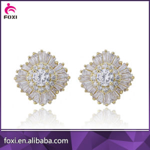 2016 18k Gold Plated Cubic Zirconia Big Stud Earring pictures & photos