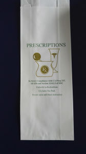 Biodegradable Custom Logo Greaseproof Kraft Paper Pharmacy Bags with Sharp Bottom pictures & photos