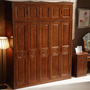 Cheap Price Simple Design Solid Wooden Bedroom Wardrobe (GSP9-018) pictures & photos