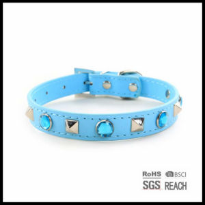 Pet Supply Products Soft Genuine Leather Dog Collars with Crystal pictures & photos