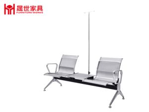 Hospital Metal Frame 2-Seat Transfusion Chair with Table pictures & photos