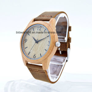 Custom Watches Handmade Bamboo Wood Watch with Leather Band pictures & photos