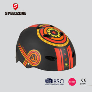 Black Junior Skating Helmet with Graphic Printing pictures & photos