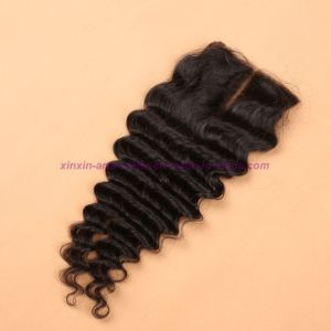 Mongolian Deep Wave Closure 4*4 Silk Base Closure 8A Unprocessed Hair Silk Base Closure pictures & photos