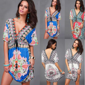 Wholesale Sexy Women V-Neck Beach Floral Kaftan with Lace (A932)
