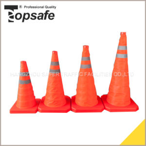 45cm Retractable Traffic Cone with Reflective Tape pictures & photos